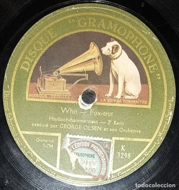 Discos de pizarra: DISCO 78 RPM - GRAMOPHONE - JOHNY HAMP´S KENTUCKY SERENADERS - GEORGE OLSEN - FOXTROT - PIZARRA - Foto 2 - 177935459