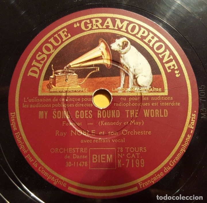 Discos de pizarra: DISCO 78 RPM - GRAMOPHONE - RAY NOBLE - ORQUESTA - MY SONG GOES ROUND THE WORLD - JAZZ - PIZARRA - Foto 1 - 177937433