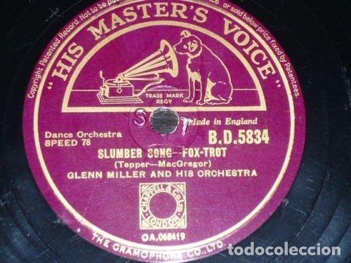 DISCO 78 RPM - HIS MASTER´S VOICE - GLENN MILLER - SLUMBER SONG - MOONLIGHT COCKTAIL - PIZARRA (Música - Discos - Pizarra - Jazz, Blues, R&B, Soul y Gospel)