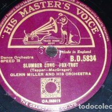 Discos de pizarra: DISCO 78 RPM - HIS MASTER´S VOICE - GLENN MILLER - SLUMBER SONG - MOONLIGHT COCKTAIL - PIZARRA. Lote 177944753