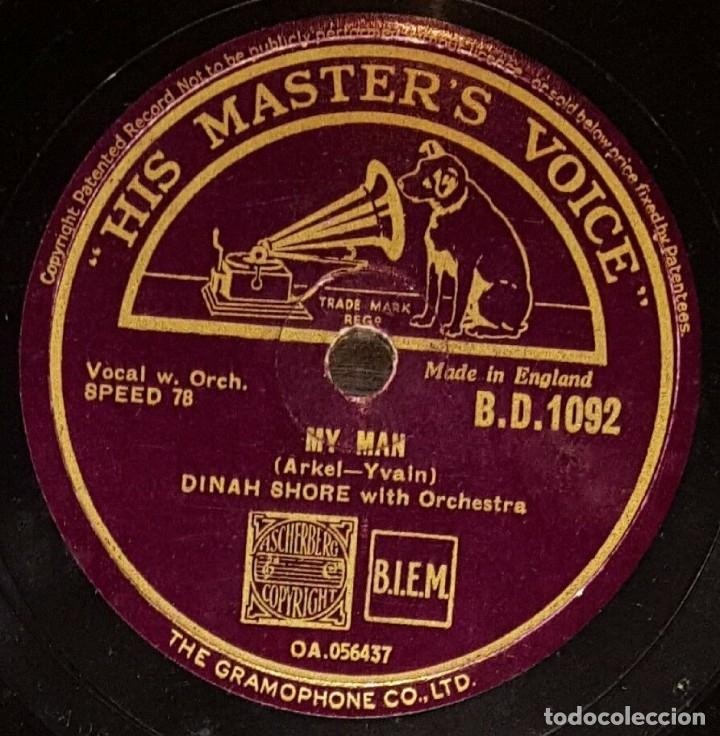 DISCO 78 RPM - HIS MASTER´S VOICE - DINAH SHORE - ORQUESTA - MY MAN - SOMEBODY LOVES ME - PIZARRA (Música - Discos - Pizarra - Jazz, Blues, R&B, Soul y Gospel)