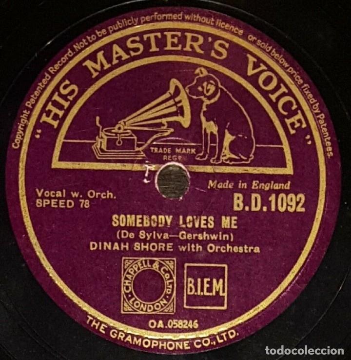 Discos de pizarra: DISCO 78 RPM - HIS MASTER´S VOICE - DINAH SHORE - ORQUESTA - MY MAN - SOMEBODY LOVES ME - PIZARRA - Foto 2 - 177945693