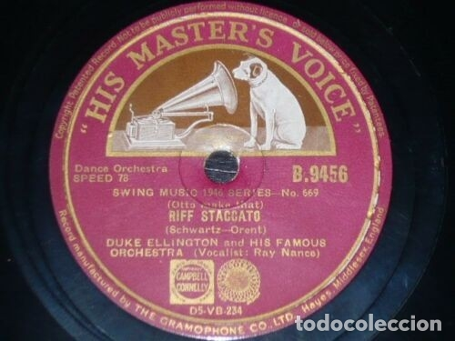 Discos de pizarra: DISCO 78 RPM - HIS MASTER´S VOICE - DUKE ELLINGTON - ORQUESTA - RIFF STACCATO - SWING - PIZARRA - Foto 1 - 178051464