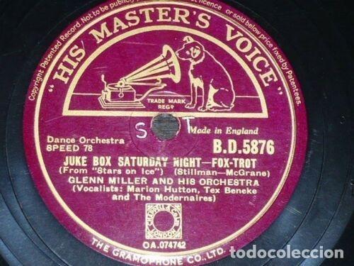 Discos de pizarra: DISCO 78 RPM - HMV - GLENN MILLER - ORQUESTA - SLEEPY TOWN TRAIN - JUKE BOX SATURDAY NIGHT - PIZARRA - Foto 2 - 178052272