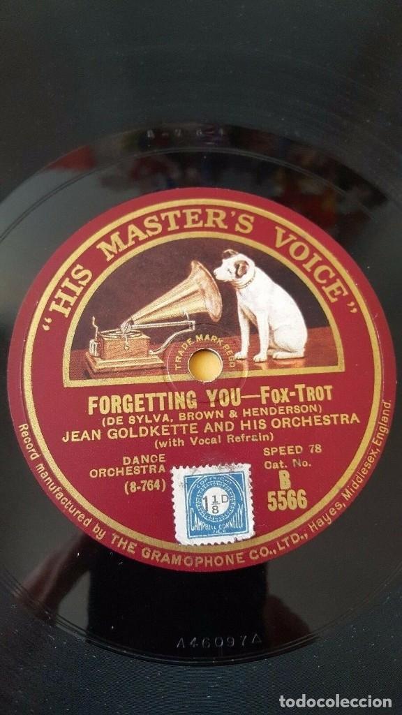DISCO 78 RPM - HMV - JEAN GOLDKETTE - GEORGE OLSEN - ORQUESTA - FORGETTING YOU - SONNY BOY - PIZARRA (Música - Discos - Pizarra - Jazz, Blues, R&B, Soul y Gospel)