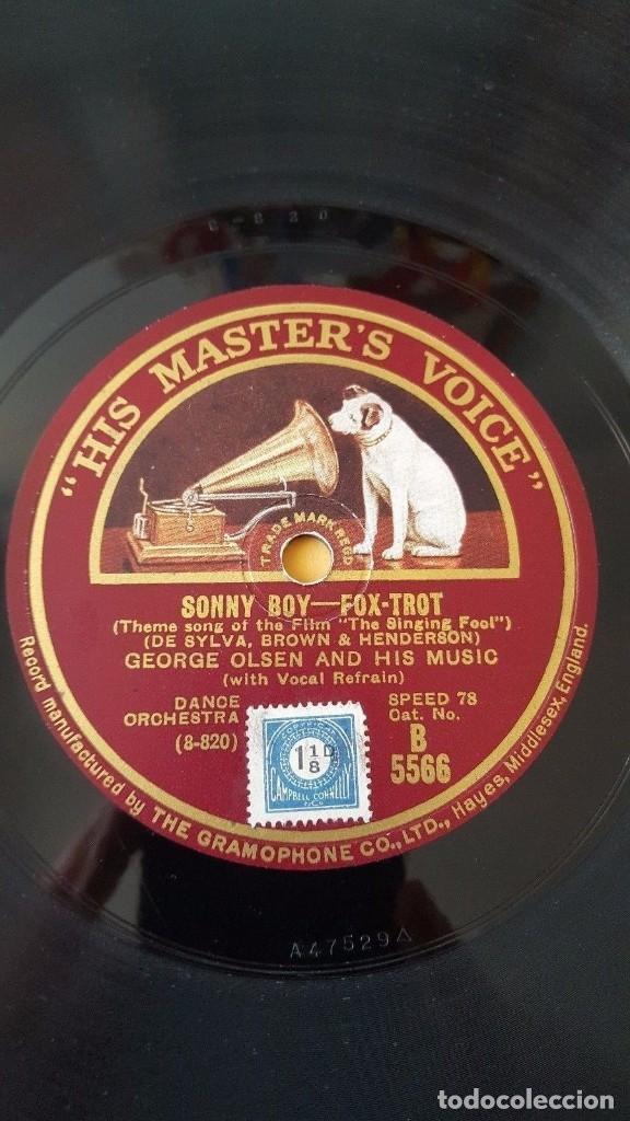 Discos de pizarra: DISCO 78 RPM - HMV - JEAN GOLDKETTE - GEORGE OLSEN - ORQUESTA - FORGETTING YOU - SONNY BOY - PIZARRA - Foto 2 - 178054114