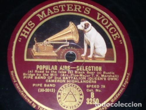 DISCO 78 RPM - HMV - PIPE BAND OF 2ND BATTALION - INVERNESS - POPULAR AIRS - HIGHLANDERS - PIZARRA (Música - Discos - Pizarra - Jazz, Blues, R&B, Soul y Gospel)