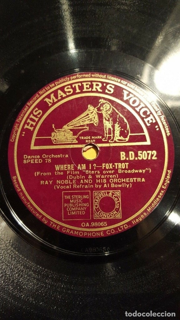 DISCO 78 RPM - HMV - RAY NOBLE - ORQUESTA - FILM - STARS OVER BROADWAY - WHERE AM I? - PIZARRA (Música - Discos - Pizarra - Jazz, Blues, R&B, Soul y Gospel)