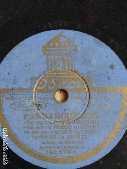 DISCO PIZARRA MILONGA, NIÑO DE LA HUERTA,UN SOLDADO HERIDO Y FANDANGUILLOS, MANOLO BADAJOZ (Música - Discos - Pizarra - Flamenco, Canción española y Cuplé)