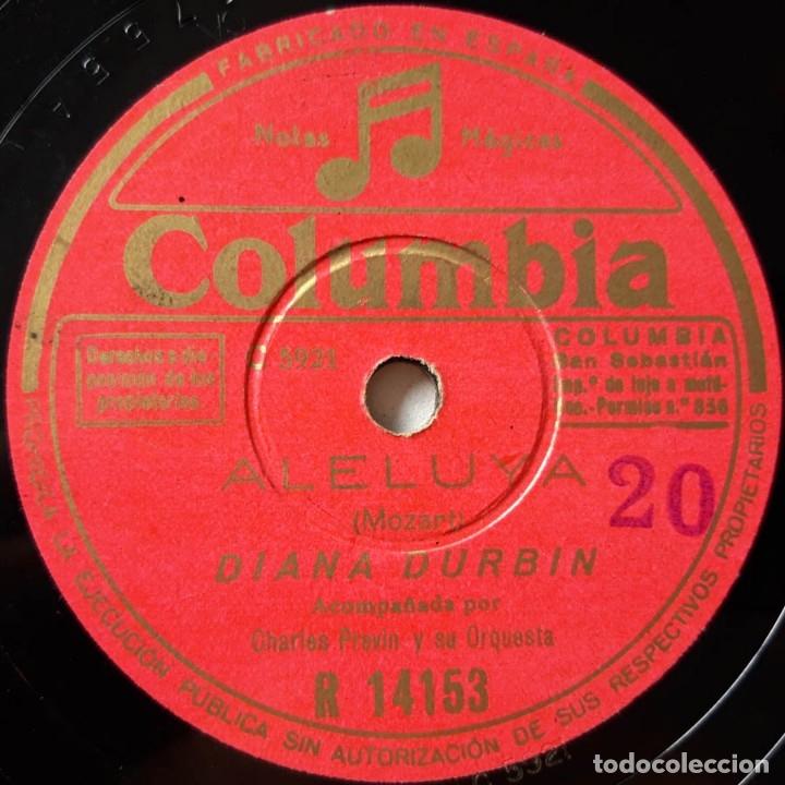 DIANA DURBIN, ALELUYA, AVE MARÍA, COLUMBIA R 14153, DISCO DE PIZARRA (Música - Discos - Pizarra - Solistas Melódicos y Bailables)