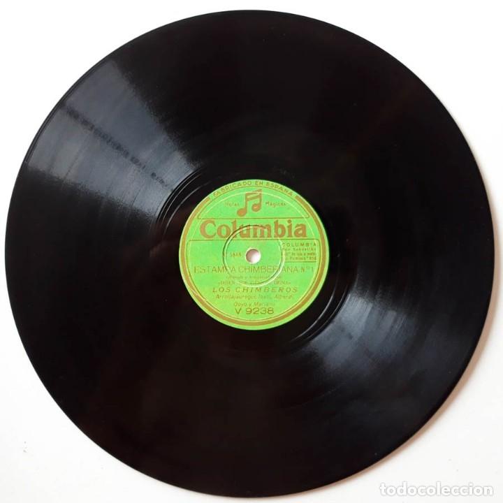 Discos de pizarra: Los Chimberos Disen que viene El Reina, Hay una calle en Bilbao, Estampa Chimberana, Columbia V 9238 - Foto 2 - 178394683