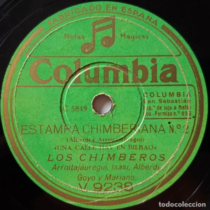Discos de pizarra: Los Chimberos Disen que viene El Reina, Hay una calle en Bilbao, Estampa Chimberana, Columbia V 9238 - Foto 3 - 178394683