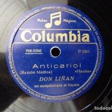 Discos de pizarra: PUBLICIDAD RADIOFÓNICA ANTICARIOL. DON LIÑAN Y ORQUESTA. COLUMBIA. PIZARRA MONOFACIAL. Lote 178564768