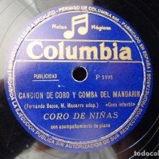 Discos de pizarra: PUBLICIDAD RADIOFONICA. FLAN CHINO EL MANDARIN. CORO DE NIÑAS. COLUMBIA PIZARRA MONOFACIAL. Lote 178564872