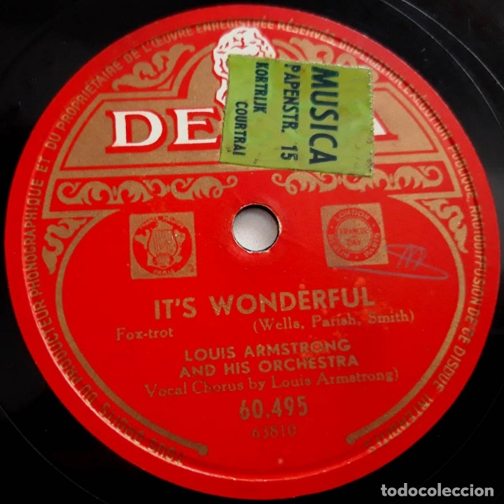 LOUIS ARMSTRONG AND HIS ORCHESTRA, IT'S WONDERFUL, ON THE SENTIMENTAL SIDE, DECCA 60495, 10 PULGADAS (Música - Discos - Pizarra - Jazz, Blues, R&B, Soul y Gospel)
