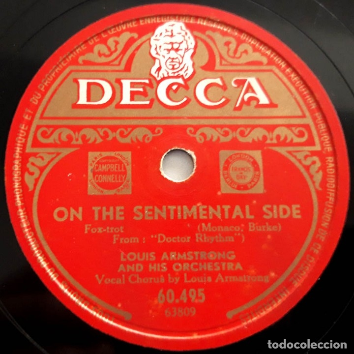Discos de pizarra: Louis Armstrong and his Orchestra, It's wonderful, On the sentimental side, Decca 60495, 10 pulgadas - Foto 3 - 178575673