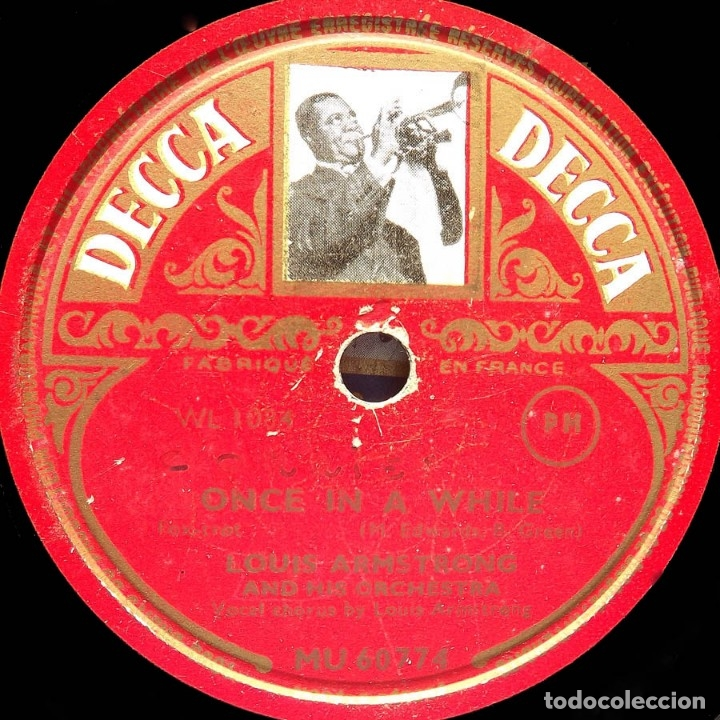Discos de pizarra: Louis Armstrong and his Orchestra, Conffessin', Once in a while, Decca MU 60774, 10 pulgadas, 78 RPM - Foto 2 - 178575878