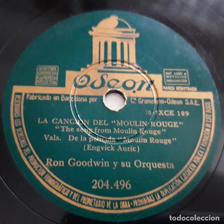 Discos de pizarra: Candilejas, Moulin Rouge, de las películas del mismo nombre, Ron Goodwin y su orquesta, Odeon 204496 - Foto 3 - 178576225