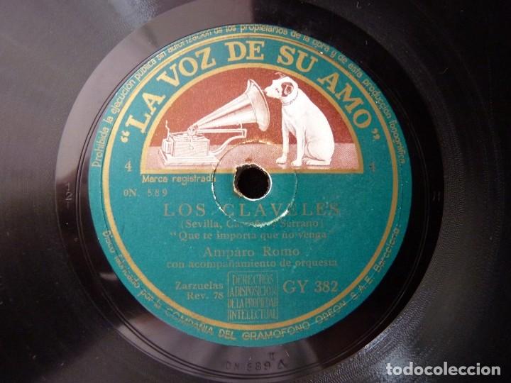 AMPARO ROMO, ALBIACH, SIMON Y ORQUETA. ZARZUELA LOS CLAVELES. LA VOZ DE SU AMO GY382 (Música - Discos - Pizarra - Clásica, Ópera, Zarzuela y Marchas)