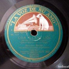 Discos de pizarra: AMPARO ROMO, ALBIACH, SIMON Y ORQUETA. ZARZUELA LOS CLAVELES. LA VOZ DE SU AMO GY382. Lote 178809080