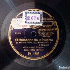 Discos de pizarra: FELISA HERRERO - DELFÍN PULIDO. EL RUISEÑOR DE LA HUERTA. DÚO. CANCIÓN DEL RUISEÑOR . REGAL PK1503. Lote 178809863