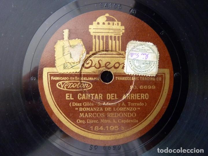MARCOS REDONDO Y ORQUESTA. EL CANTAR DEL ARRIERO. SOY ARRIERO. ROMANZA DE LORENZO. ODEON 184195 (Música - Discos - Pizarra - Clásica, Ópera, Zarzuela y Marchas)