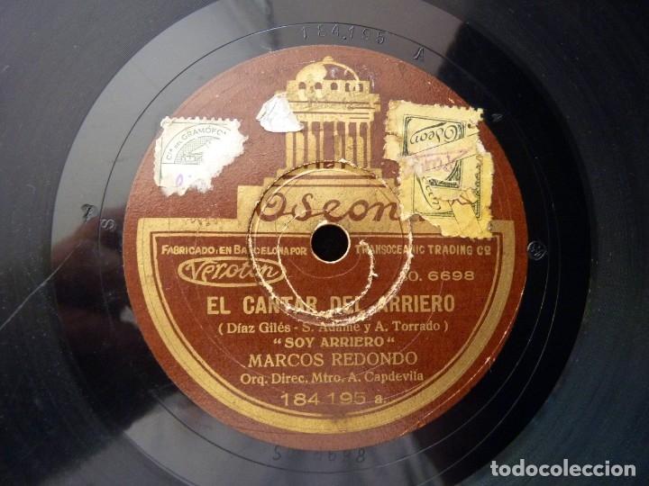 Discos de pizarra: MARCOS REDONDO Y ORQUESTA. EL CANTAR DEL ARRIERO. SOY ARRIERO. ROMANZA DE LORENZO. ODEON 184195 - Foto 3 - 178810560