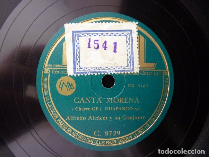 Discos de pizarra: ALFREDO ALCÁCER Y SU CONJUNTO. SI ME QUIERES TU DE VERAS. CANTA MORENA. REGAL C8729 - Foto 4 - 178811340