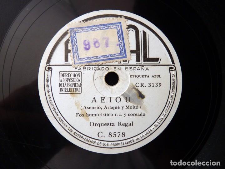 Discos de pizarra: PÉREZ ABELLAN Y ORQUESTA REGAL. ¡AY ROBERTA!, FOXTROT. AEIOU, FOX HUMORISTICO . REGAL C8578 - Foto 3 - 178811572