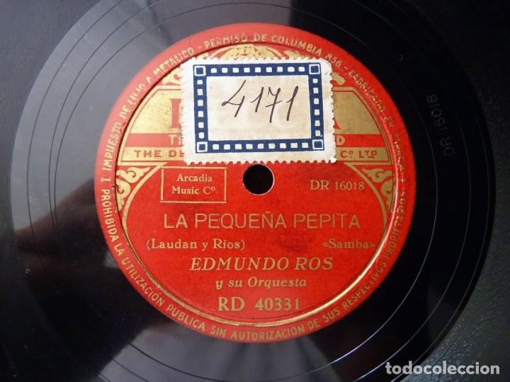 Discos de pizarra: EDMUNDO ROS Y SU ORQUESTA. LA PEQUEÑA PEPITA. NUNCA ME SUCEDE A MI. DECCA RD 40331 - Foto 3 - 178811743
