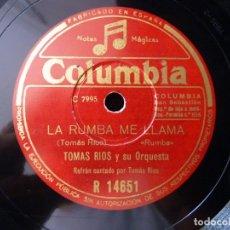 Discos de pizarra: TOMAS RIOS Y SU ORQUESTA. LA RUMBA ME LLAMA. ASI, FOX-LENTO. COLUMBIA R14651. Lote 178811868
