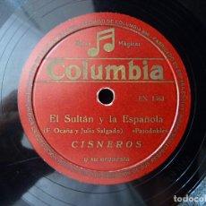 Discos de pizarra: CISNEROS Y SU ORQUESTA. PASODOBLES, EL SULTAN Y LA ESPAÑOLA, MI PASODOBLE CAMPERO. COLUMBIA EN1362-3. Lote 178811958