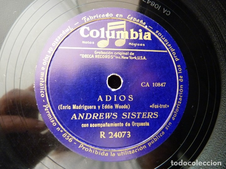 ANDREWS SISTERS Y ORQUESTA. ADIOS, FOX-TROT. BOOGIE DE CARMEN. COLUMBIA R24073 (Música - Discos - Pizarra - Otros estilos)