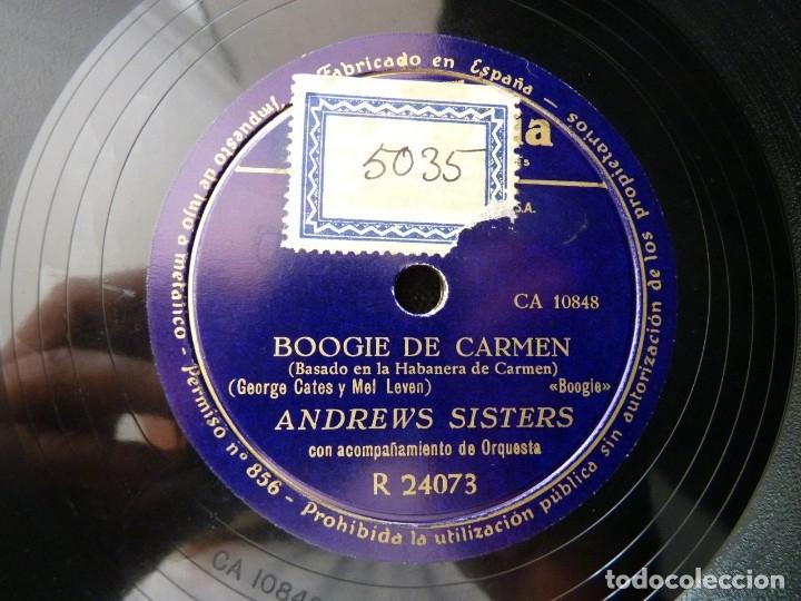 Discos de pizarra: ANDREWS SISTERS Y ORQUESTA. ADIOS, FOX-TROT. BOOGIE DE CARMEN. COLUMBIA R24073 - Foto 3 - 178812297