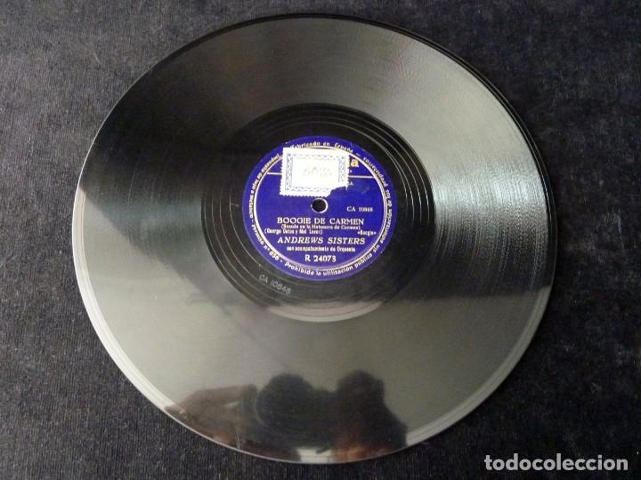 Discos de pizarra: ANDREWS SISTERS Y ORQUESTA. ADIOS, FOX-TROT. BOOGIE DE CARMEN. COLUMBIA R24073 - Foto 4 - 178812297