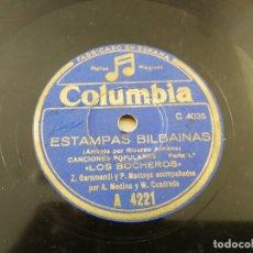 Discos de pizarra: DISCO ANTIGUO GRAMOFONO COLUMBIA ESTAMPAS BILBAINAS. Lote 178898441