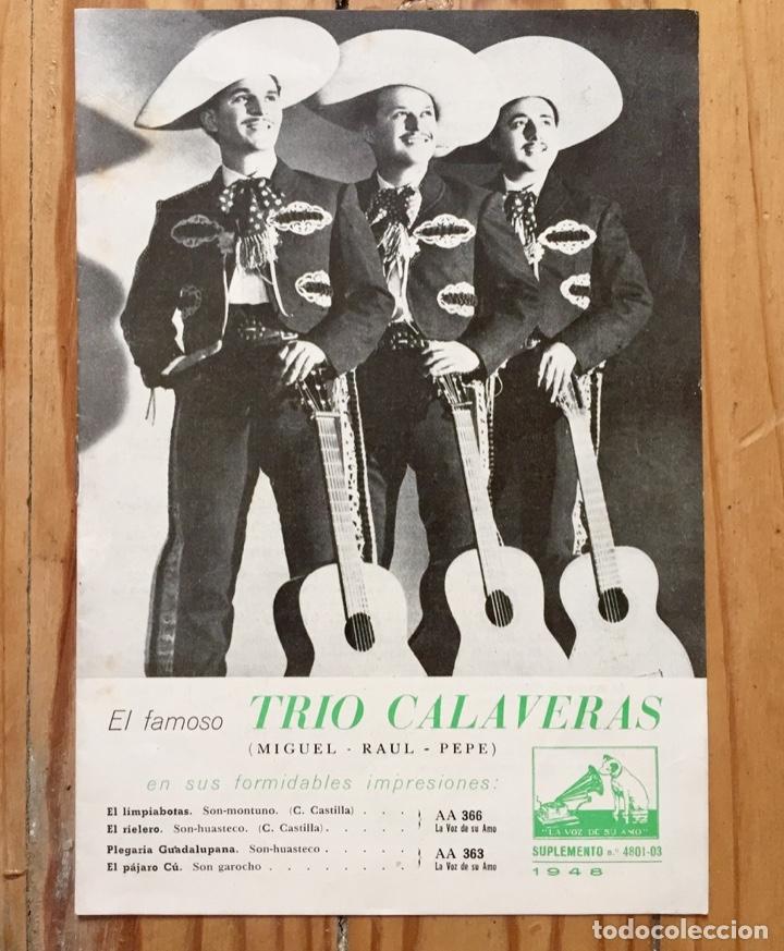 LOTE TRIO CALAVERAS DISCO PIZARRA PLEGARIA GUADALUPANA PAJARO CU Y CATALOGO DISCOS 1948 (Música - Discos - Pizarra - Otros estilos)