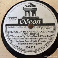Discos de pizarra: MIGNON Y SU ORQUESTA SELECCION DE LAS PRODUCCIONES KAPS JOHAM. Lote 179318233