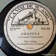 Discos de pizarra: TITO SCHIPA AMAPOLA VALENCIA. Lote 179514260