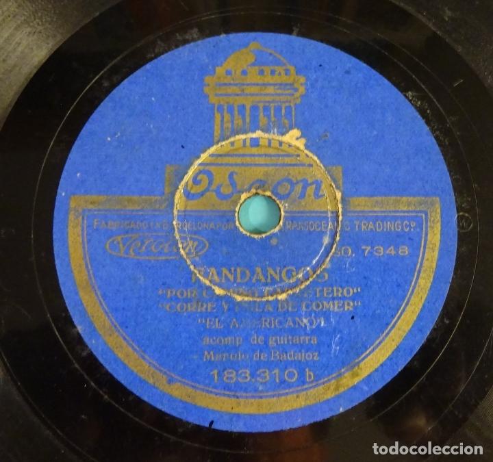 Discos de pizarra: EL AMERICANO ACOMPAÑADO A LA GUITARRA POR MANOLO DE BADAJOZ. FANDANGOS. MILONGA. ODEON - Foto 3 - 180026378