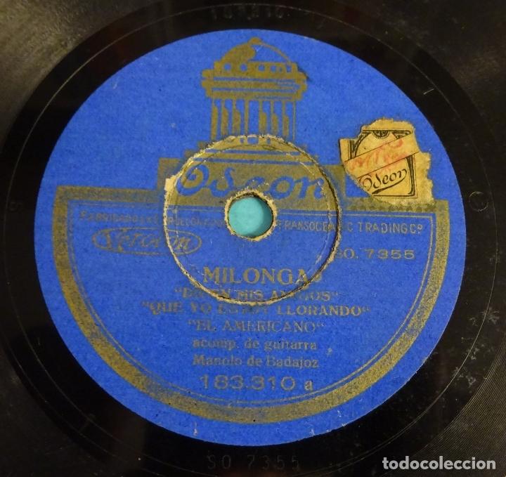 Discos de pizarra: EL AMERICANO ACOMPAÑADO A LA GUITARRA POR MANOLO DE BADAJOZ. FANDANGOS. MILONGA. ODEON - Foto 4 - 180026378