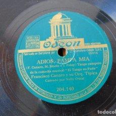 Discos de pizarra: DISCO DE PIZARRA , ADIOS PAMPA MIA , CANCION DESESPERADA , FRANCISCO CANARO Y SU ORQUESTA. Lote 180720577