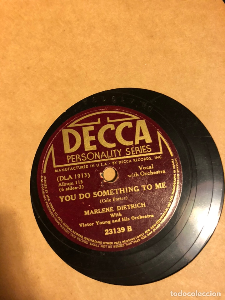 Discos de pizarra: Album de 3 discos de pizarra de 78 rpm gramófono de marlene dietrich - Foto 4 - 63415192