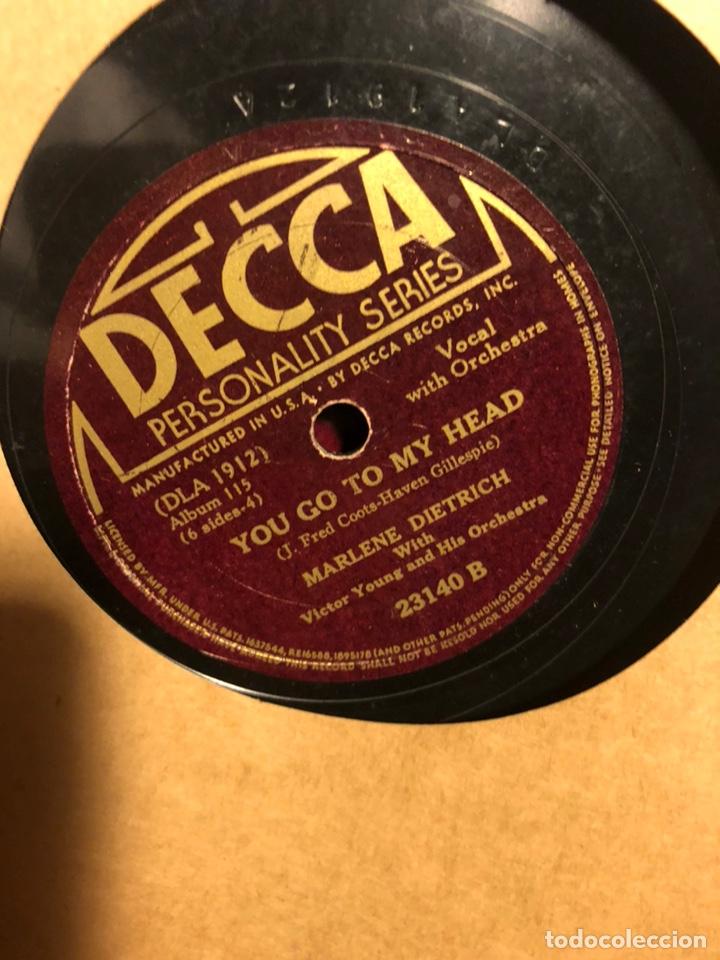 Discos de pizarra: Album de 3 discos de pizarra de 78 rpm gramófono de marlene dietrich - Foto 5 - 63415192