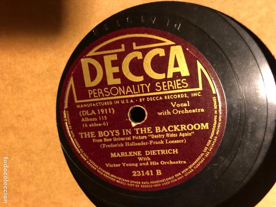 Discos de pizarra: Album de 3 discos de pizarra de 78 rpm gramófono de marlene dietrich - Foto 7 - 63415192
