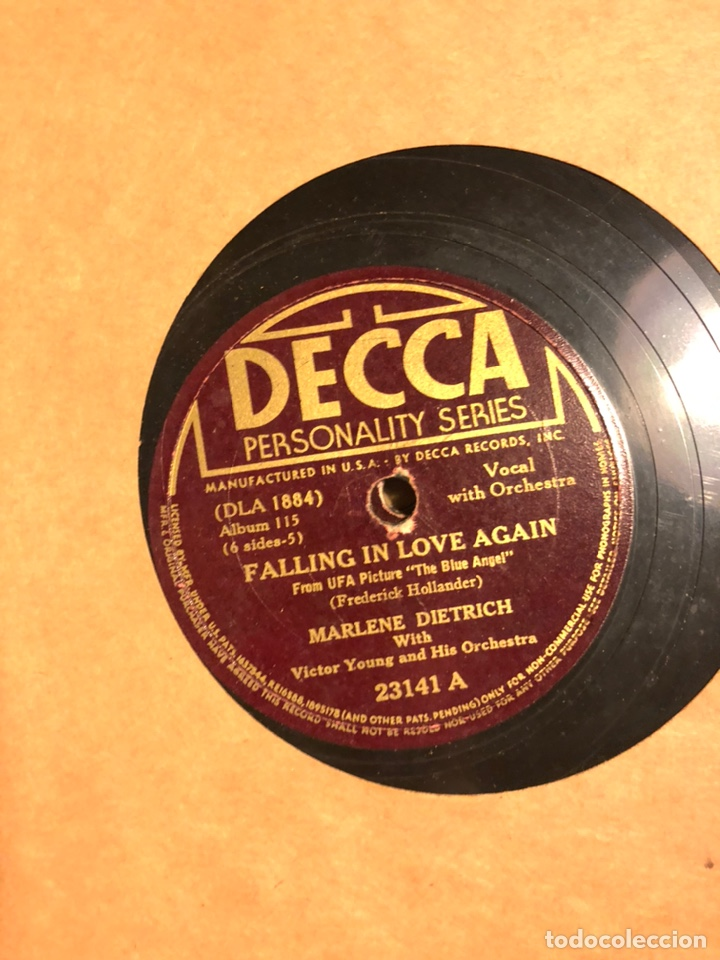 Discos de pizarra: Album de 3 discos de pizarra de 78 rpm gramófono de marlene dietrich - Foto 8 - 63415192