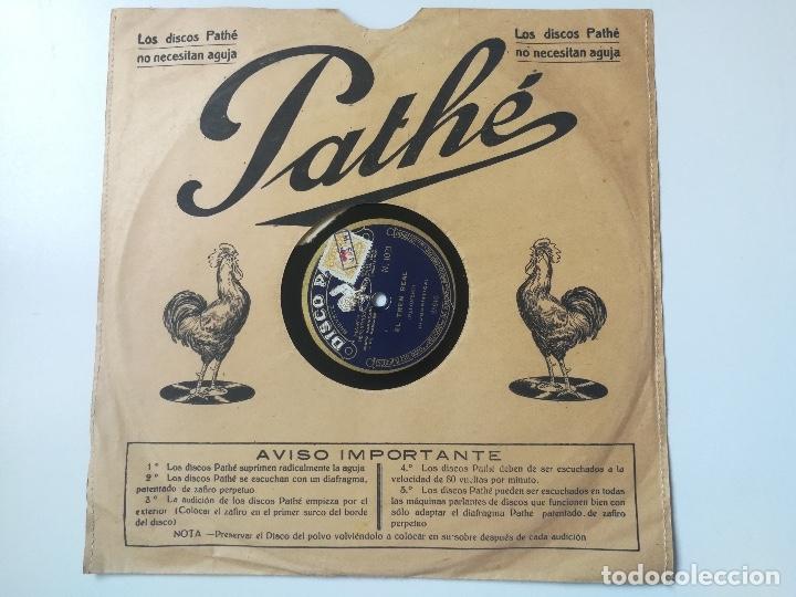 ANTIGUO DISCO DE PIZARRA DE PATHÉ - LA CORRIDA DE TOROS DE F. PALOMERO RECITADO Y EL TREN REAL - DIS (Música - Discos - Pizarra - Flamenco, Canción española y Cuplé)