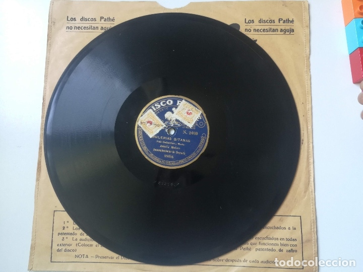 ANTIGUO DISCO DE PIZARRA DE PATHÉ - EL MAÑICO Y LOS GUITARRICOS DE JUAN SAÑÉ Y JUAN RIBÉ Y BULERIAS (Música - Discos - Pizarra - Flamenco, Canción española y Cuplé)