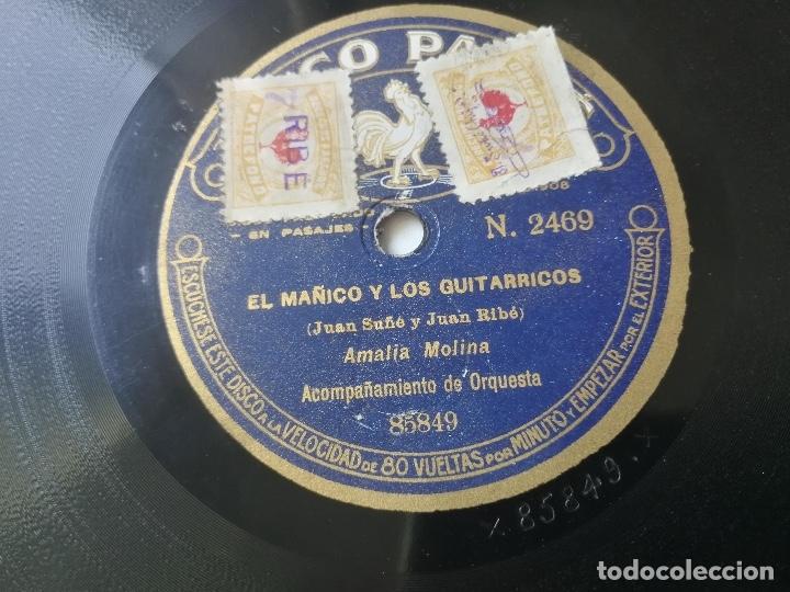 Discos de pizarra: ANTIGUO DISCO DE PIZARRA DE PATHÉ - EL MAÑICO Y LOS GUITARRICOS DE JUAN SAÑÉ Y JUAN RIBÉ Y BULERIAS - Foto 4 - 182106295