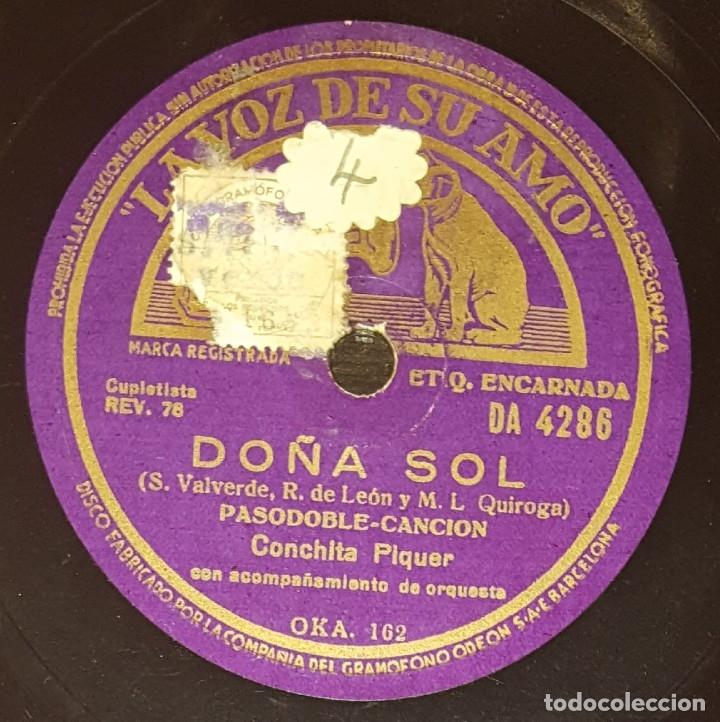 DISCO 78 RPM - VSA - CONCHITA PIQUER - ORQUESTA - PASODOBLE - DOÑA SOL - ZAMBRA - PIZARRA (Música - Discos - Pizarra - Flamenco, Canción española y Cuplé)